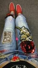 Европа 2016 весной новый женская мода личность тяжелые блестки цветы ногтей шарик отверстие узкие джинсы ноги
