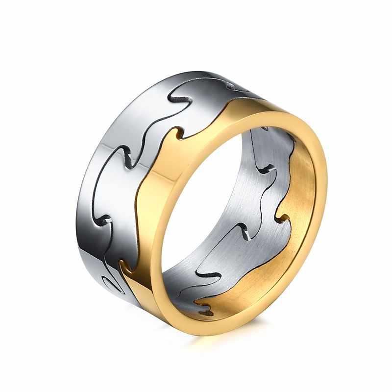 NHGBFT ที่ถอดออกได้แหวนสำหรับเครื่องประดับบุรุษทอง/สีดำแหวนสแตนเลสบุรุษ Dropshipping