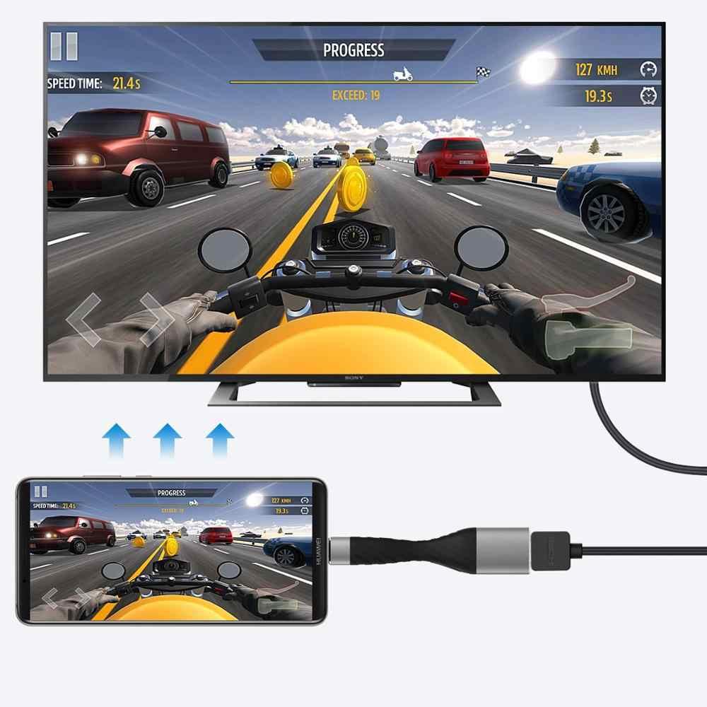 Amkle USB C إلى HDMI مهايئ VGA المحمولة نوع C 4K HDMI كابل 4K @ 30Hz/60Hz Thunderbolt دونغل لماك بوك هواوي P30 سامسونج S11