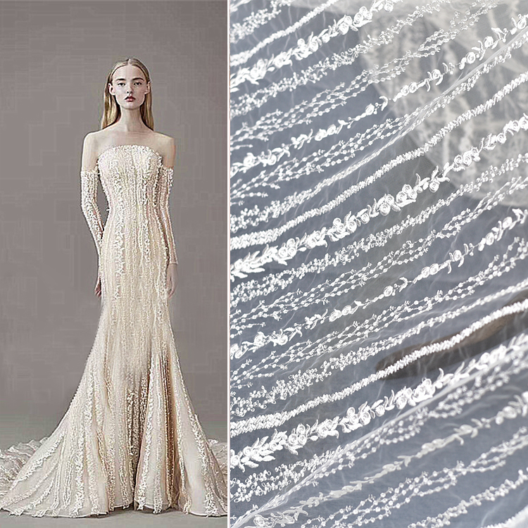 white Vertical stripe Embroidery lace fabric Dress fabric