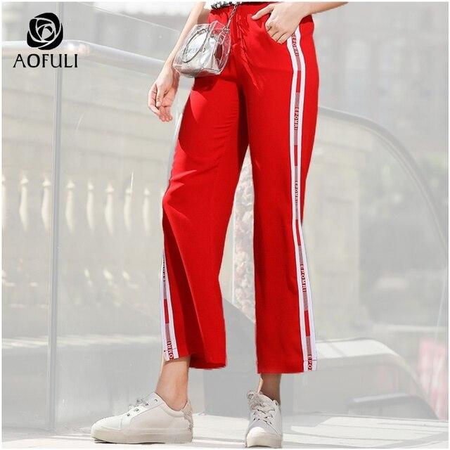 7ee00fdb902 AOFULI L- XXXL 4XL 5XL Slit Wide Leg Pants Women Elegant Side Striped Long Trousers  Plus Size Pocket High Waist Long Pants A3521