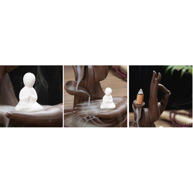 Image 2 - Hot Ceramic Backflow Incense Burner Tathagata Buddha Incense Cones Stick Holder Creative Home-in Incense & Incense Burners from Home & Garden