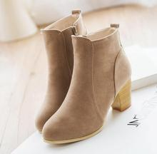 2016 Autumn Women Boot Fashion Pointed Toe High Thick Heel Female Sewing Ankle Boot Casual Martin Boot Shoes