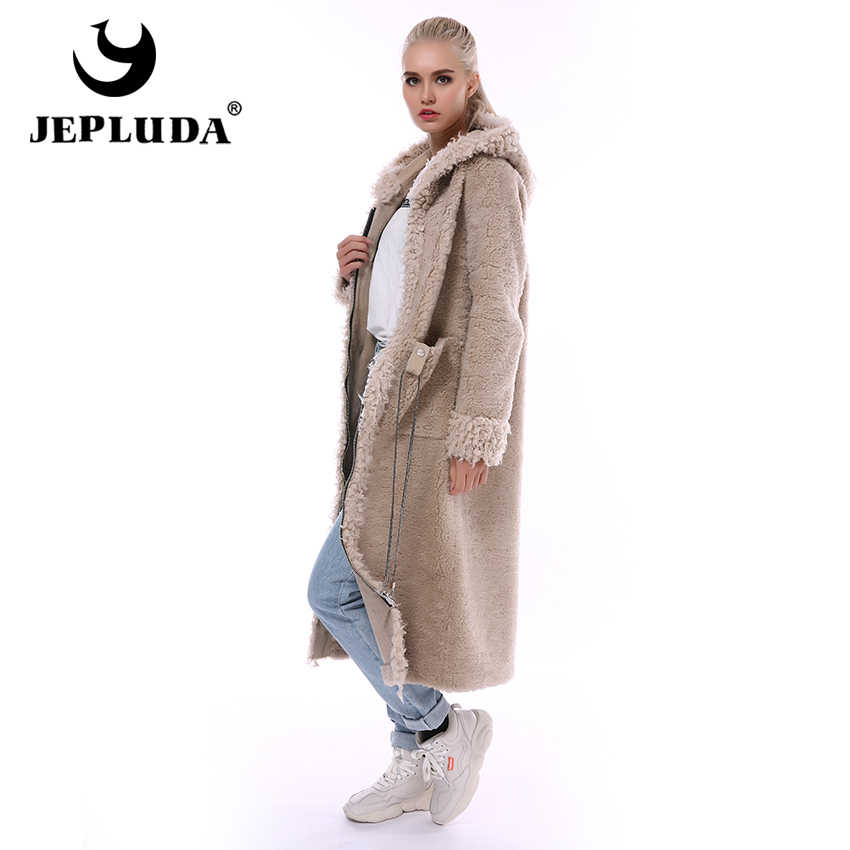 JEPLUDA Gaya Baru Nyata Bulu Mantel Musim Dingin Wanita Panjang Ritsleting Berkerudung Alami Campuran Wol Domba Bulu Mantel Wanita Hangat Nyata bulu Jaket