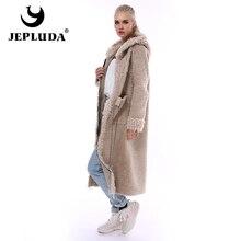 JEPLUDA New Style Real Fur Coat Women Winter Long Zipper Hooded Natural Wool Blends Sheep Fur Coat Women Warm Real Fur Jacket