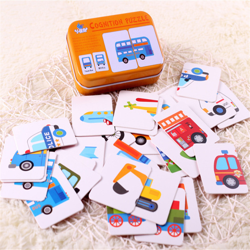 Kids Cognition Puzzle Toys Toddler Iron Box Cards Matching Game Cognitive Card Vehicl/Fruit/Animal/Life Set Pair Puzzles Gifts