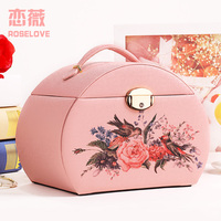 Half moon printing jewelry box Packaging Casket Makeup Storage Box For Exquisite Cosmetics Beauty Organizer Container Boxes