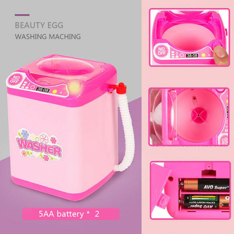 Mini Electric Washing Machine Kids Dollhouse Toy Useful Wash Makeup Brushes