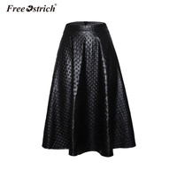 Free Ostrich High Waist Leather Skirt Women Black Knee Length Midi Skirt Faux Leather A Line