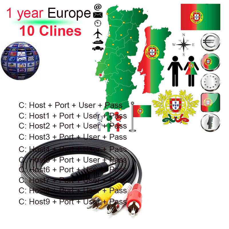 7 Clines cccam TV cable para Receptores de televisión por satélite DVB-S2 apoyo Europa Clines por 1 año vía WiFi dongle alta calidad estable