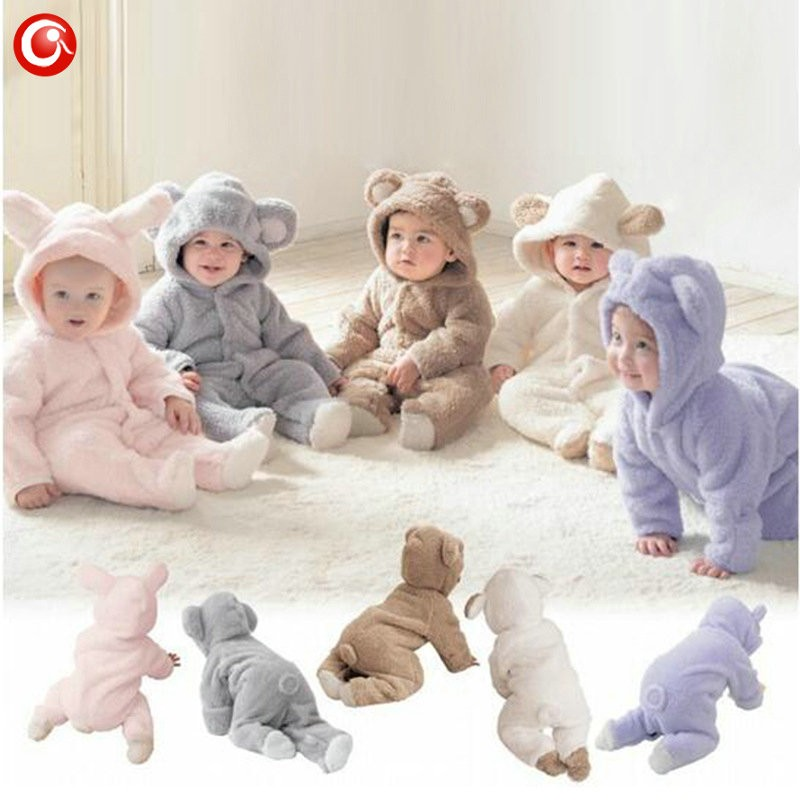 2016 Cute Winter Warm longsleeve coral fleece infant baby Romper cartoon winter Jumpsuit boys girls animal overall menino menina (2)