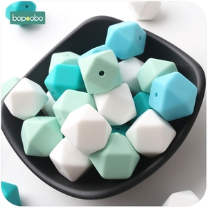 Bopoobo Baby Teething Accessorie 20pc 17mm Colorful Silicone Hexagon Bead DIY Nursing Necklace Baby Teether Shower Gift