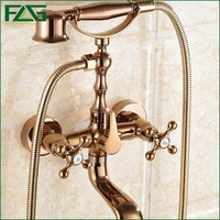 FLG Hot Sale Rose Golden Plated Wall Mounted Bathroom Shower Faucet Telephone Bath Faucets With Hand