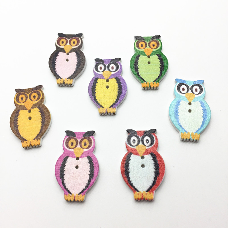 1000pcs 21x32mm Mixed Owl Wood Buttons Sewing Accesories Baby Fancy Button Cardmaking Scrapbooking Embellishments
