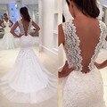 Romântico Sereia Vestidos de Casamento com Trem 2017 Sexy Profundo Decote em V Backless Lace Vestidos de Casamento Vestido de Noiva vestido de novia sirena