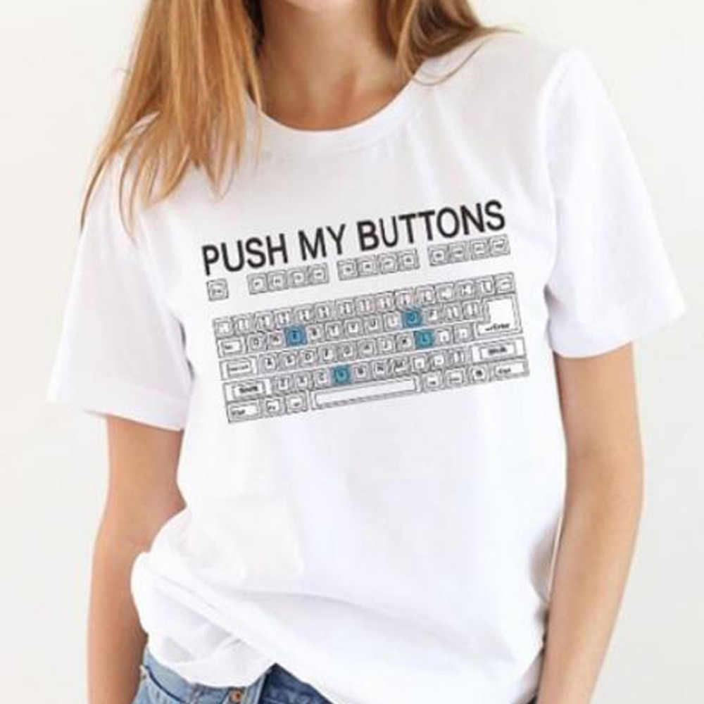 PUSH MIJN KNOPPEN Grappige toetsenbord afdrukken lente zomer dieptepunt shirts slanke lichaam dunne college wind korte mouwen vrouwen t-s # G6