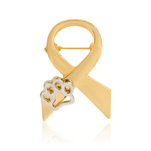 CMajor Prevent Animal Cruelty/Stand Against Animal Abuse Awareness Ribbon Lapel  Pin Brooch Paw Print