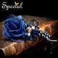 Специальный мода для волос смолы зажим для волос голубая роза шелковая кристалл ручной волосы носить заколки для девочек женщин FS141164