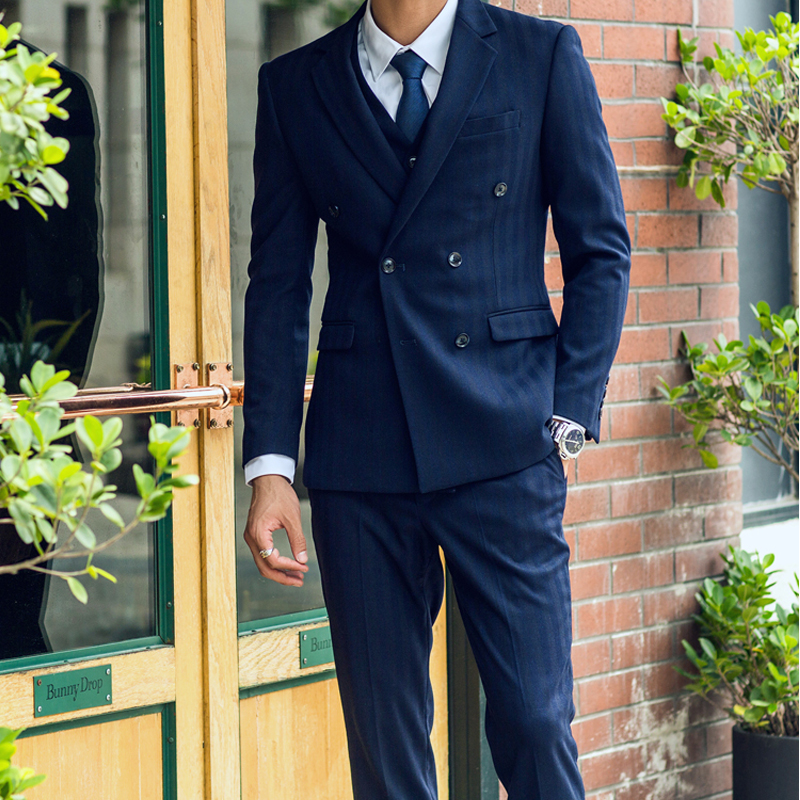 OSCN7 Navy 3 Pieces Custom Pinstriped Suit Men Wool Half Canvas Slim Fit Suit Men Double ...