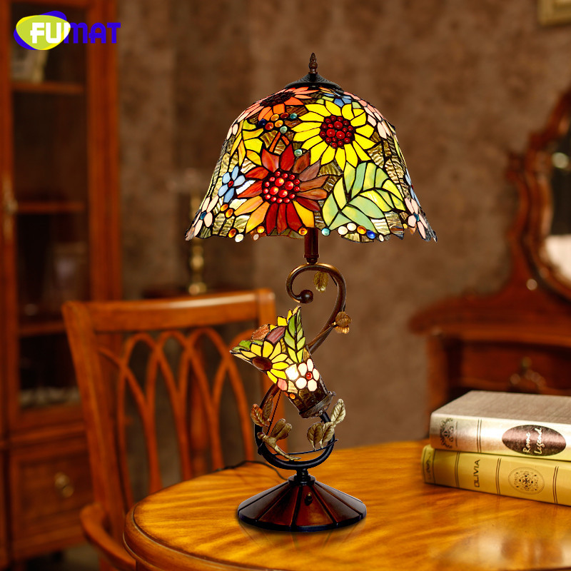 Living Room Lamp Shades: FUMAT Stained Glass Table Lamp High Quality European Style