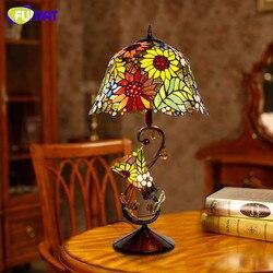 FUMAT witraż szklana lampa stołowa wysokiej jakości w stylu europejskim lampy słonecznikowe klosz lampy salon nocna lampa stojąca kolumna świetlna