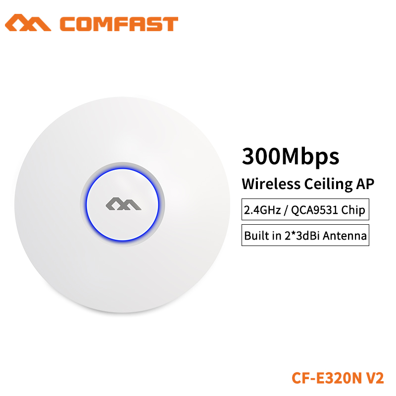 comfast cf e320n 300mbps ceiling ap 802 11b g n wireless ap wifi coverage router 16 flash wifi access point add 48v poe power COMFAST 300M WiFi Ceiling Wireless AP 802.11b/g/n QCA9531 Enterprise Wifi System AP 48V POE OPEN DDWRT Access Point AP CF-E320V2