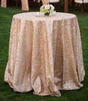 Factory Directly 15PCS Wholesale 120'' Round Wedding Decorative Champagen Glitter Round Sequins Table Runner Table Cloth