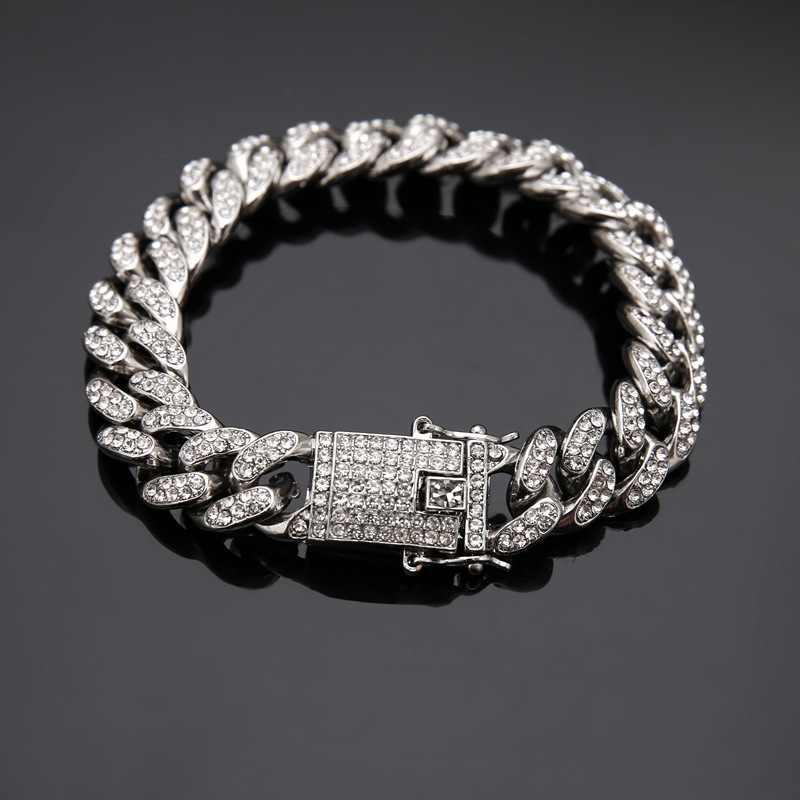 HIP Bling kubański łańcuch Iced Out pełna AAA męska bransoletka Rhinestone cyrkon betonowa złoto srebro bransoletki dla mężczyzn Hip Hop biżuteria