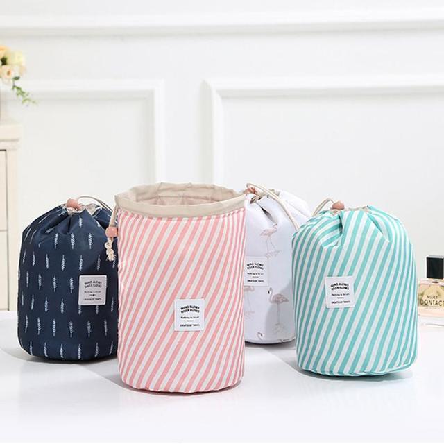Round Drawstring Fabric Barrel Women Cosmetics Organizer Bag Makeup Storage Bags Travel Toiletry Kits Basket Skin Cares Pouch #E