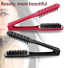 Ceramic Straightening Comb Double Sided Brush Clamp Hair Hairdressing Natural Fibres Bristle Hair Comb Hairstylig Tool