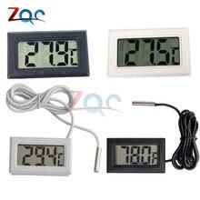 Цифровой мини-термометр с ЖК-дисплеем для морозильной камеры, температура-50~ 110 градусов, термометр для холодильника и холодильника, внутренний и наружный зонд 1 м 2 м