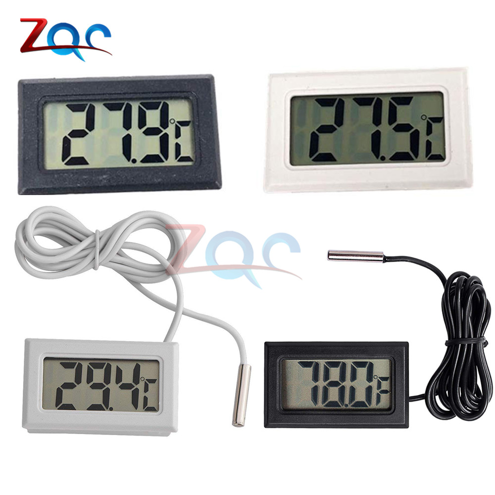 Mini LCD Digital Thermometer for Freezer Temperature -50~110 degree Refrigerator Fridge Thermometer indoor outdoor Probe 1M 2M
