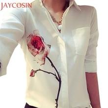 Newly Autumn Women Fashion White Long Sleeve Rose Flower Printed Shirt Casual Lady Turn Down Collar