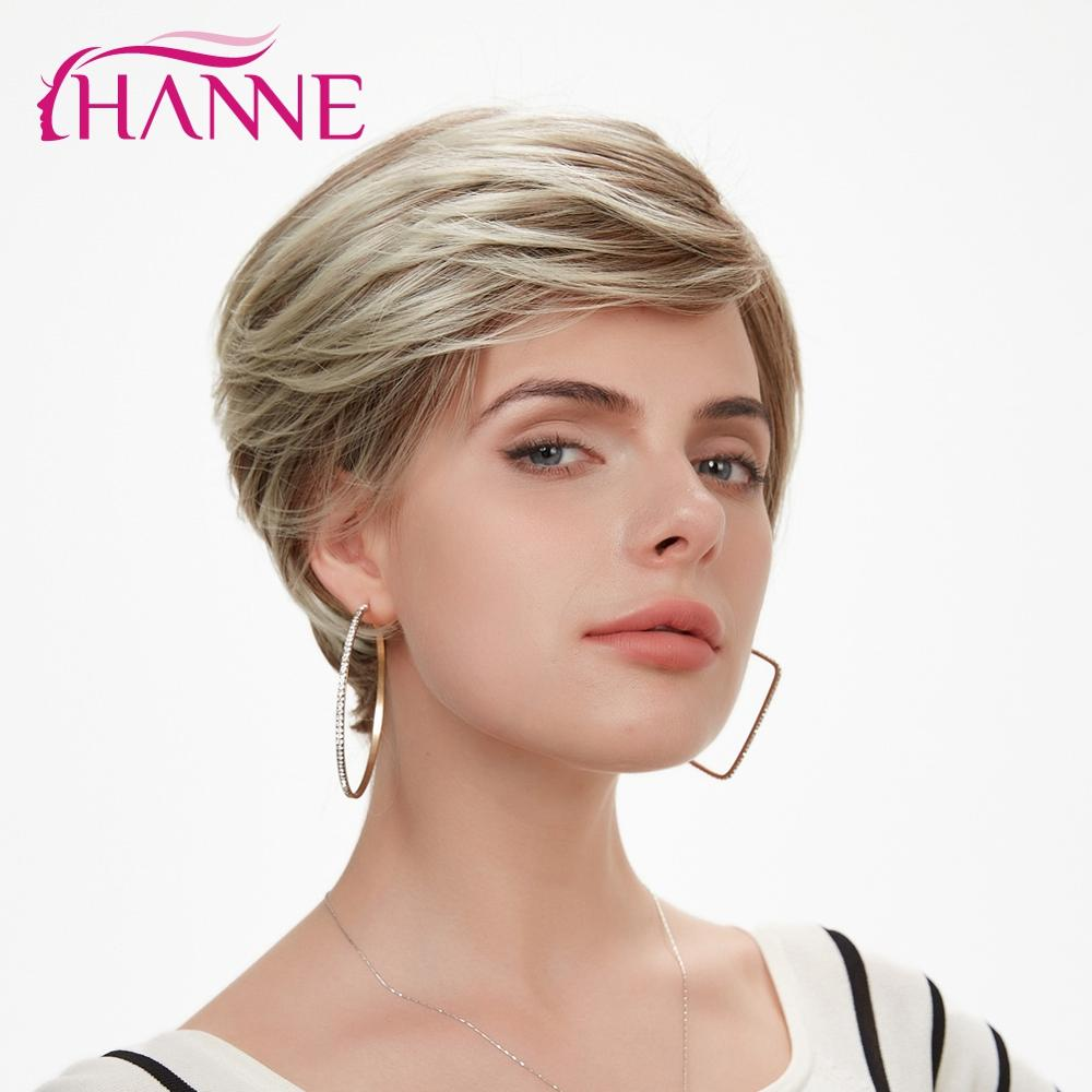 HANNE Short Synthetic Hair Wigs For Women Lace Top Wig Mix Brown And Blonde 613 Natural Wigs Cosplay Wig
