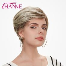 цена на HANNE Short Synthetic Hair Wigs for Women Lace Top Wig Mix Brown And Blonde 613 Natural Wigs Cosplay Wig