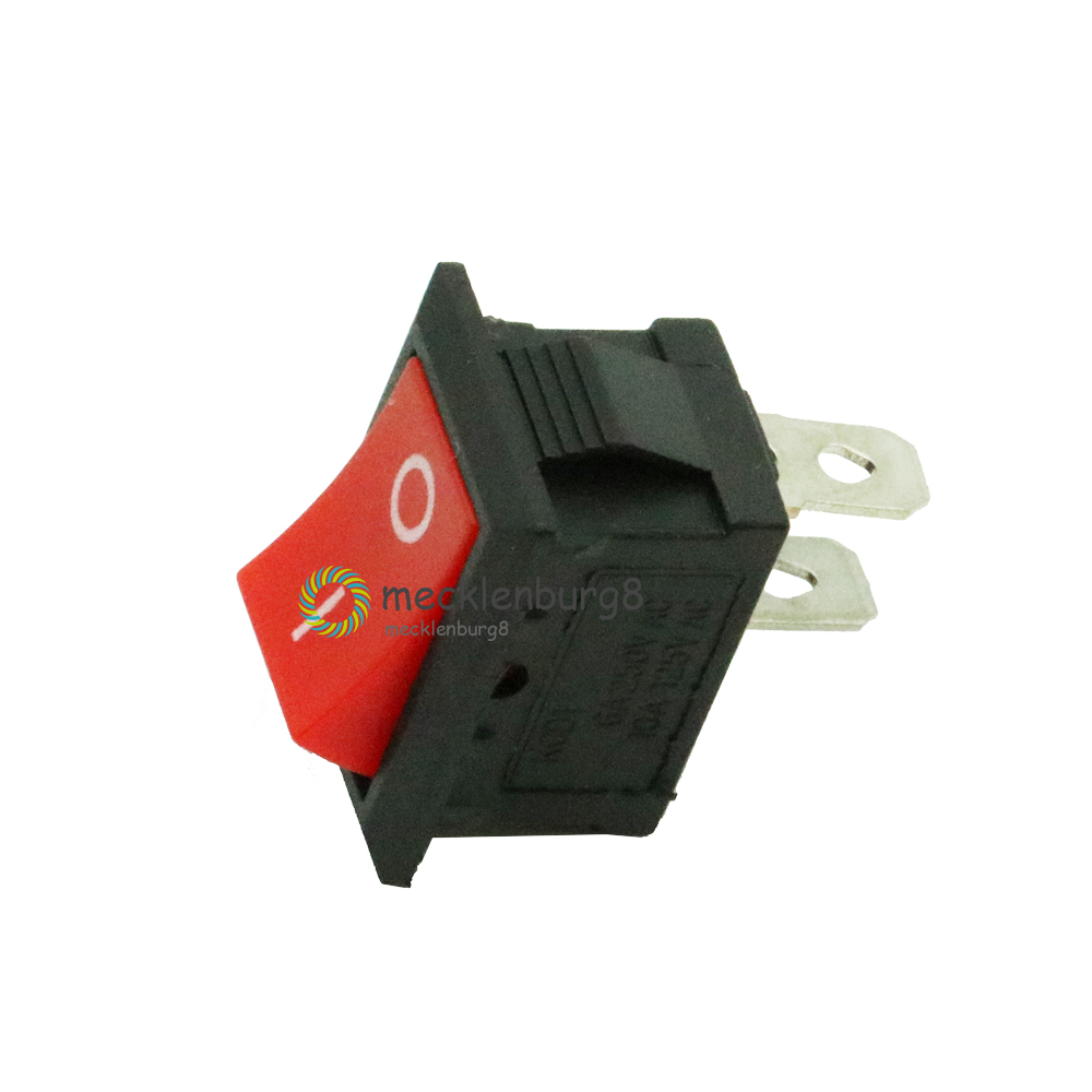 5Pcs KCD1-101 AC 6A 250V 2 Pin ON/OFF I/O SPST Snap In Mini Red Button Boat Rocker Switch 15*21MM