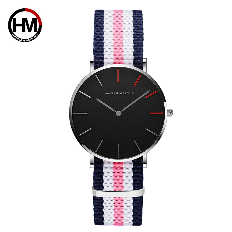 Hannah Martin 2018 New Brand Classic Nylon Strap Watches Men Women Casual Quartz Watch Fashion Ladies Watch Hot Montres Femmes