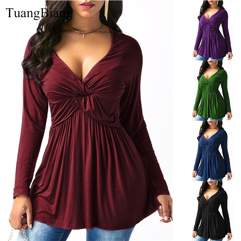 2018 Women Autumn Draped Long Sleeve T Shirts Loose Sexy Camiseta Feminina Deep V Neck T Shirts Winter Plus Size Long Style Tops