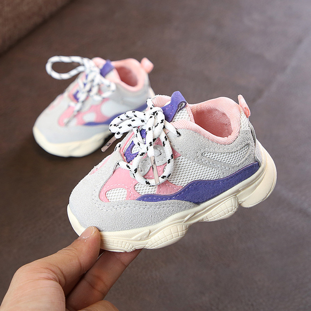 Kids Shoes For Girl Toddler Infant Kids Baby Girls Stitching Color Sneakers Running Sport Shoes Kinder Schoenen Meisjes7.305gg