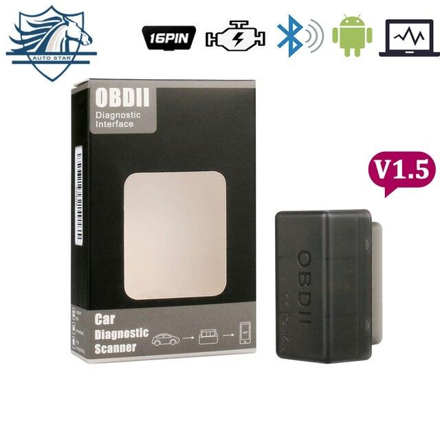 Super bluetooth Мини ELM327 Оптовые Последний Новый ELM 327 V1.5 OBD2/OBDII черный сканер штрих-кода автомобиля инструмент бесплатная доставка