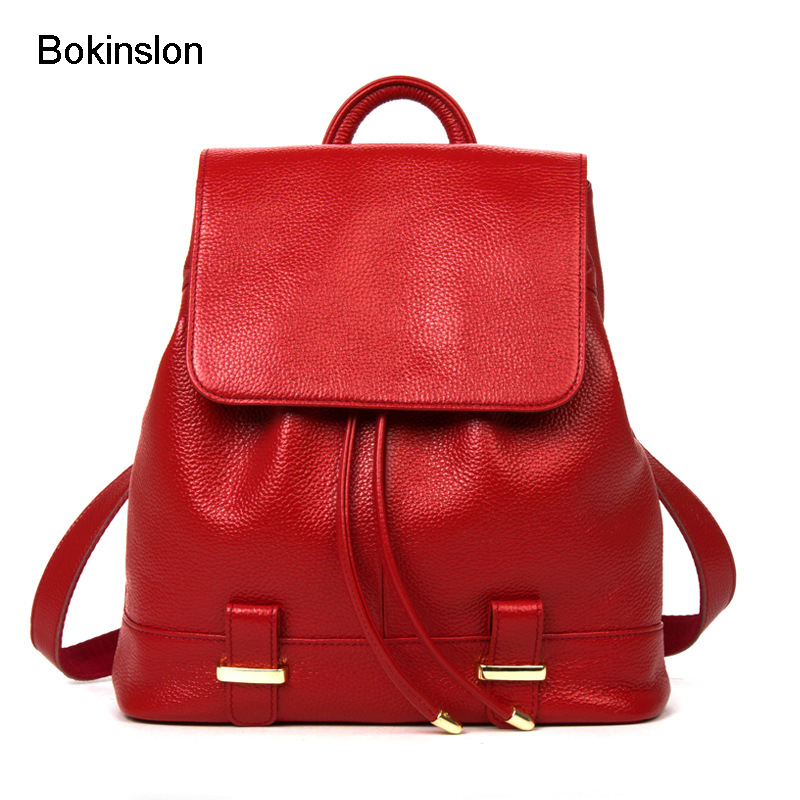 Bokinslon Backpack Girls Bags Popular Solid Colors Women Backpacks Bags Split Leather Fashion Travel Backpack For