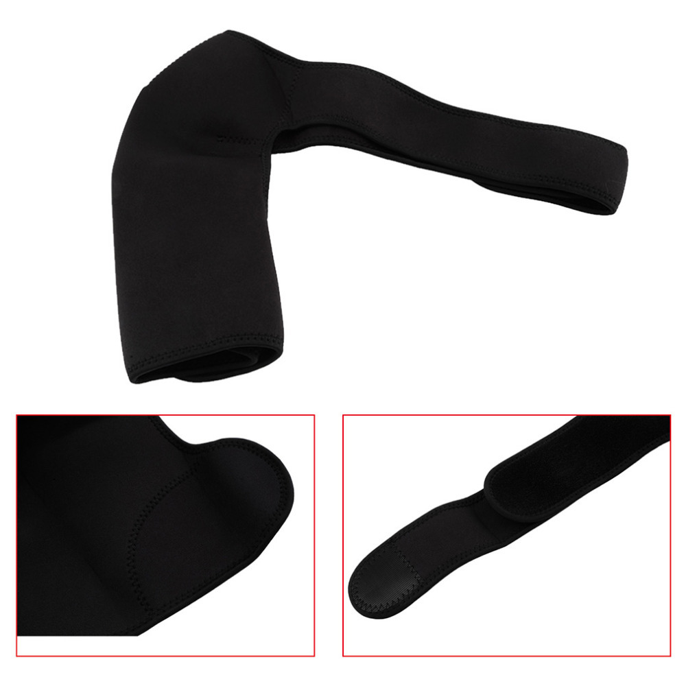 Adjustable Breathable Gym Sports Care Single Shoulder Support Back Brace Guard Strap Wrap Belt Band Pads Black Bandage Men&Women