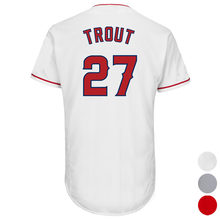 Mens Los Angeles 27 Mike Trout Baseball jersey (White Gray Red) Cool Player Stitched Jersey Free Shipping(China)