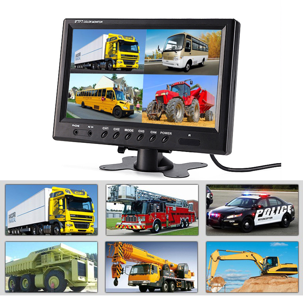 9 Inch Hd TFT LCD Car Monitor 4 Split Screen Headrest Rearview Monitor 2018 Auto Video Connectors 6 Mode Display Remote Control 9 inch rearview mirror split display hd group 1024 600 monitor 4 channel screen av aviation interface remote control audio input