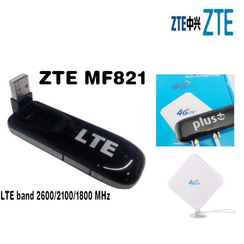 Unlocked ZTE MF821 100Mbps Wireless WIFI Router Mini 4G LTE Modem WIFI Router FDD 1800/2100/2600MHz +2XTS9 4G Antenna Mimo original unlocked huawei e3372 m150 2 lte fdd 150mbps 4g lte modem support lte fdd 800 900 1800 2100 4g crc9 49dbi dual antenna