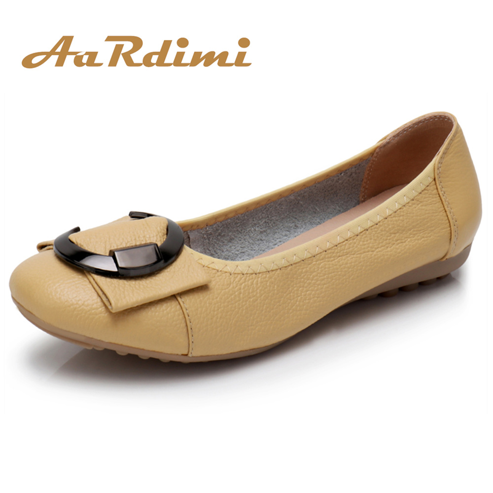 AARDIMI Spring Genuine Leather Women Flats Shoes Fashion Round Toe Flat With Mother Shoes Leisure Flat Shoes Woman Zapatos Mujer 2017 spring autumn new fashion genuine leather women flats female oxfords fringe british shoes woman leisure round toe 3 colors