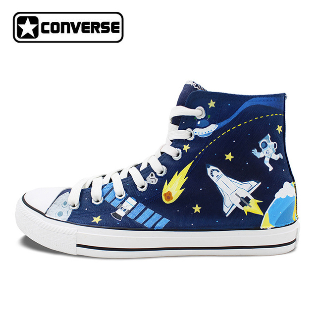 womens Skateboarding Shoes Canvas watercolor blue flower Sport Sneaker