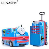 LEINASEN 3D kids luggage ABS+PC cartoon car toy trolley case hard suitcase luggage child trunks carry on child gift,can Ride