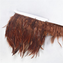 Wholesale 10 Meters/lot Brown Pheasant Feathers Trim Fringe Ribbon Chicken Rooster for Crafts Wedding Decoration Plumes