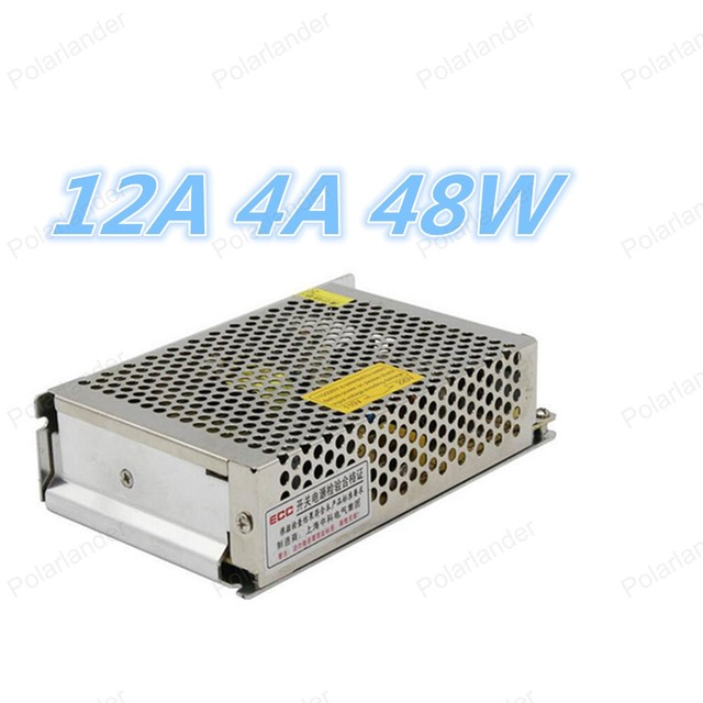 Led Indicador de Alimentación 12 V 4A 48 W AC110-240V DC12V Transformador Conductor Llevado para Tiras de Led de luz
